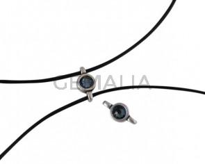 Swarovski and metal connector 10x5mm. Silver-Denim Blue.Inn.2m