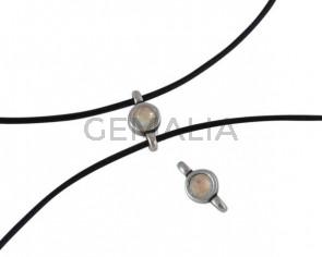 Swarovski and metal connector 10x5mm. Silver-Light Grey Delite.Inn.2m