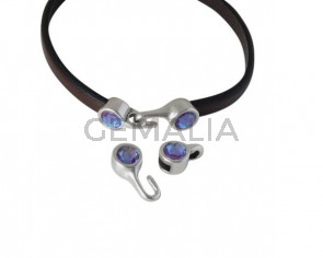 SWAROVSKI clasp with end cap. 2 pieces set 6x15mm-6x11mm. Silver-Burgundy Delite. Inn.5x2mm