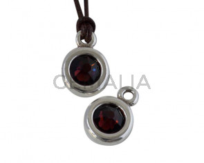 SWAROVSKI and Zamak Pendant. 17x11mm Coin. Silver-Burgundye. Inn.2mm