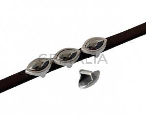 SWAROVSKI and metal slider leaf 11x7mm. Silver-Light Chrome Pearl. Int.5x2.5mm