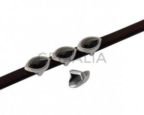 SWAROVSKI and metal slider leaf 11x7mm. Silver-Jet Hematite Pearl. Int.5x2.5mm