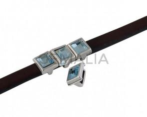 SWAROVSKI and metal slider square 6x6mm. Silver-Aquamarine. Int.5x2.5mm