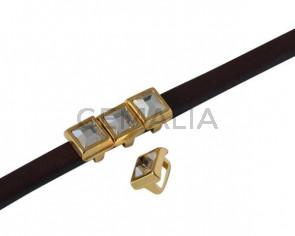 SWAROVSKI and metal slider square 6x6mm. Gold-Crystal. Int.5x2.5mm