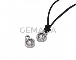 Swarovski and metal pendant coin 6.5x6.5mm. Silver-Crystal. Inn1.8mm