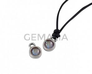 Swarovski and metal pendant coin 6.5x6.5mm. Silver-Cappuccino Delite. Inn1.8mm
