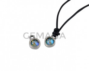 Swarovski and metal pendant coin 6.5x6.5mm. Silver-Peridot Shimmer. Inn1.8mm