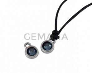 Swarovski and metal pendant coin 6.5x6.5mm. Silver-Denim Blue. Inn1.8mm