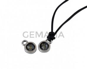 Swarovski and metal pendant coin 6.5x6.5mm. Silver-Black Diamond. Inn1.8mm