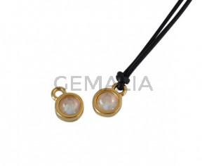 Swarovski and metal pendant coin 6.5x6.5mm. Gold-Light Grey Delite. Inn1.8mm