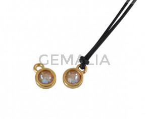 Swarovski and metal pendant coin 6.5x6.5mm. Gold-Ochre Delite. Inn1.8mm