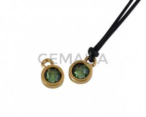 Swarovski and metal pendant coin 6.5x6.5mm. Gold-Erinite. Inn1.8mm