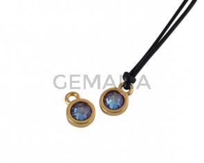 Swarovski and metal pendant coin 6.5x6.5mm. Gold-Burgundy Delite. Inn1.8mm