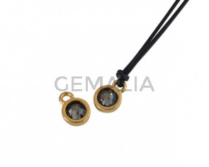 Swarovski and metal pendant coin 6.5x6.5mm. Gold-Black Diamond. Inn1.8mm
