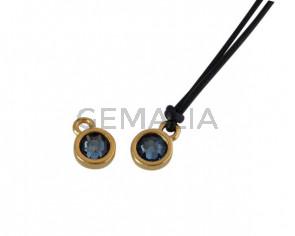 Swarovski and metal pendant coin 6.5x6.5mm. Gold-Denim Blue. Inn1.8mm