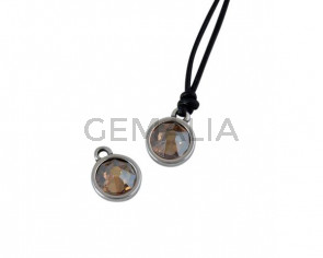 Swarovski and metal pendant coin 9x5x9.5mm. Silver-Golden Shadow. Inn1.8mm