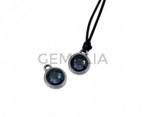 Swarovski and metal pendant coin 9x5x9.5mm. Silver-Denim Blue. Inn1.8mm
