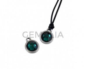 Swarovski and metal pendant coin 9x5x9.5mm. Silver-Emerald. Inn1.8mm