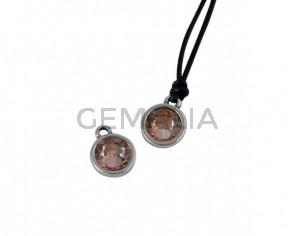 Swarovski and metal pendant coin 9x5x9.5mm. Silver-Light Peach. Inn1.8mm