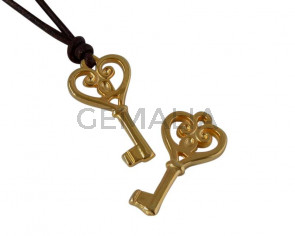 Key pendant Zamak 21x11mm. Gold. Int.1.8mm